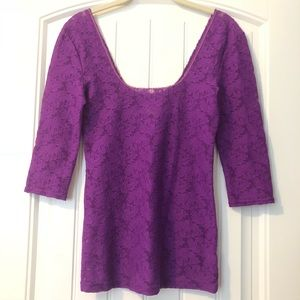 Free People purple lace 3/4 sleeve blouse size S